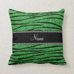 Personalize name light green glitter zebra stripes pillow