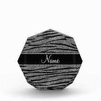 Personalize name light grey glitter zebra stripes awards