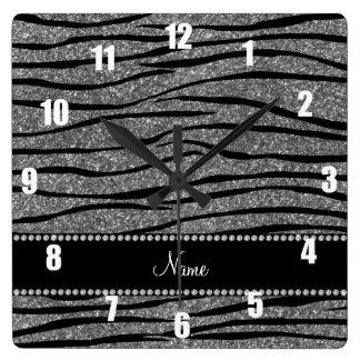 Personalize name light grey glitter zebra stripes clock
