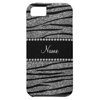 Personalize name light grey glitter zebra stripes iPhone SE/5/5s case