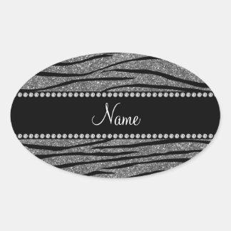 Personalize name light grey glitter zebra stripes sticker