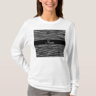 Personalize name light grey glitter zebra stripes T-Shirt