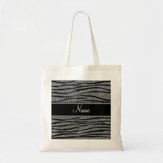 Personalize name light grey glitter zebra stripes tote bag