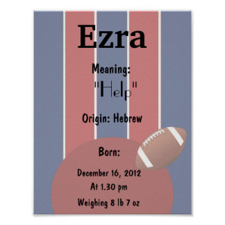 Personalize Name meaning Football keepsake Poster
