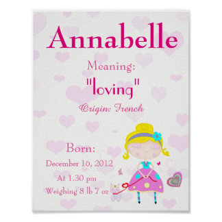 Personalize Name meaning keepsake nursery room Poster