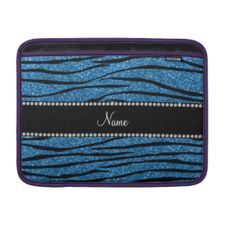 Personalize name misty blue glitter zebra stripes sleeve for MacBook air