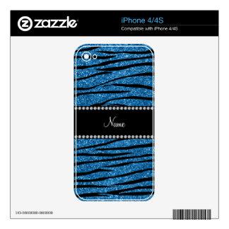 Personalize name misty blue glitter zebra stripes iPhone 4 decal