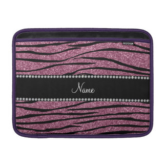 Personalize name misty pink glitter zebra stripes MacBook air sleeve