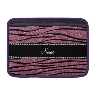 Personalize name misty pink glitter zebra stripes MacBook sleeves
