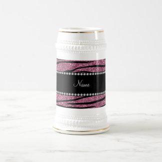 Personalize name misty pink glitter zebra stripes coffee mugs