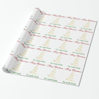 Personalize Name Modern Christmas Tree Paper Gift Wrap Paper