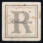 "Personalize Name Monogram Initials Stone Coaster<br><div class=""desc"">A simple a monogram frame that is easy to customize,  just add your own monogram,  initials or name.</div>"