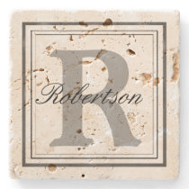 Personalize Name Monogram Initials Stone Coaster