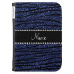 Personalize name navy blue glitter zebra stripes kindle 3G cases