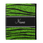 Personalize name neon green glitter zebra stripes iPad cases