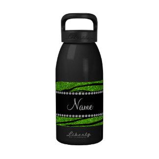 Personalize name neon green glitter zebra stripes water bottle