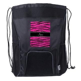 Personalize name neon hot pink glitter zebra drawstring backpack