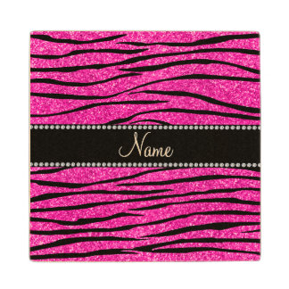 Personalize name neon hot pink glitter zebra maple wood coaster