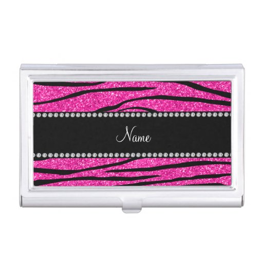 Personalize name neon hot pink glitter zebra business card for Bling business card holder