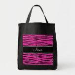 Personalize name neon hot pink glitter zebra strip canvas bags