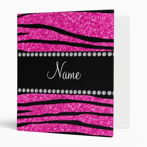 Personalize name neon hot pink glitter zebra strip 3 ring binder