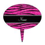 Personalize name neon hot pink glitter zebra strip cake pick