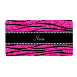 Personalize name neon hot pink glitter zebra strip personalized shipping labels