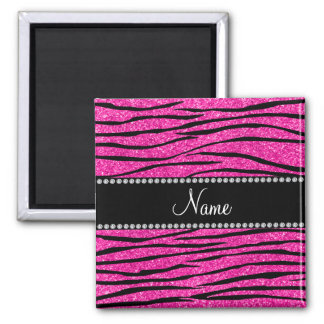 Personalize name neon hot pink glitter zebra strip 2 inch square magnet