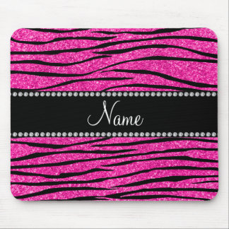 Personalize name neon hot pink glitter zebra strip mouse pad
