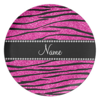 Personalize name neon hot pink glitter zebra strip party plates