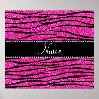 Personalize name neon hot pink glitter zebra strip poster