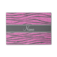 Personalize name neon hot pink glitter zebra post-it® notes