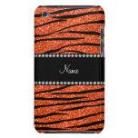 Personalize name neon orange glitter zebra stripes barely there iPod case