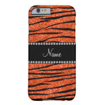 Personalize name neon orange glitter zebra stripes barely there iPhone 6 case