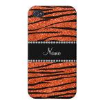 Personalize name neon orange glitter zebra stripes iPhone 4/4S case