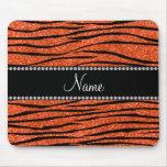 Personalize name neon orange glitter zebra stripes mouse pad