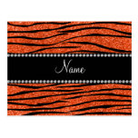 Personalize name neon orange glitter zebra stripes postcard