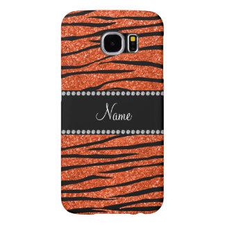 Personalize name neon orange glitter zebra stripes samsung galaxy s6 case