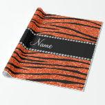 Personalize name neon orange glitter zebra stripes gift wrapping paper
