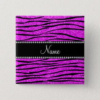 Personalize name neon pink glitter zebra stripes button
