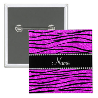 Personalize name neon pink glitter zebra stripes button