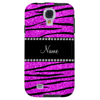 Personalize name neon pink glitter zebra stripes galaxy s4 case
