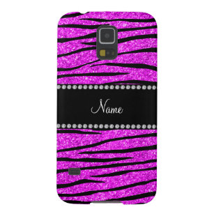Cute zebra galaxy s5 cases covers zazzle personalize name neon pink glitter zebra stripes galaxy s5 case altavistaventures Images