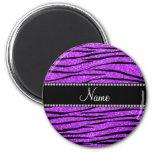 Personalize name neon purple glitter zebra stripes 2 inch round magnet