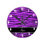 Personalize name neon purple glitter zebra stripes round clocks