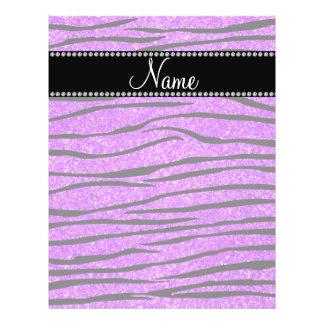 Personalize name neon purple glitter zebra stripes flyer