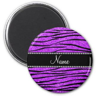 Personalize name neon purple glitter zebra stripes magnet