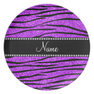Personalize name neon purple glitter zebra stripes plate