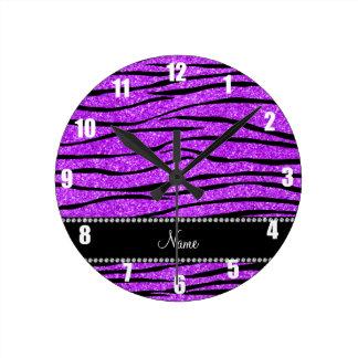 Personalize name neon purple glitter zebra stripes round clock