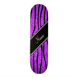 Personalize name neon purple glitter zebra stripes skateboard deck